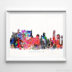 Valencia Spain Skyline Watercolor Wall Art Print. Prices from $9.95. Available at InkistPrints.com - #skyline #watercolor #cityscape #walldecor #livingroomdecor #Valencia #Spain