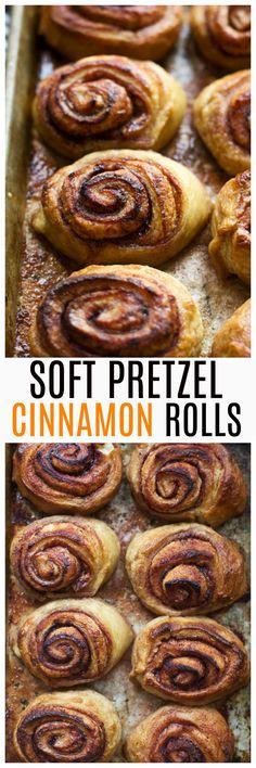 Pretzel Cinnamon Rolls with Cream Cheese Glaze