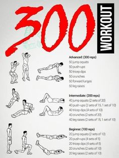 300 workout for the morning men's fitness fitnessübungen, fi 300 Workout, Sixpack Workout, Gym Workout Tips, Pilates Workout, Workout Challenge, Spartan Workout, Tabata, Free Workout, Cardio
