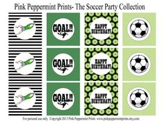 NEW INSTANT DOWNLOAD The Soccer Party Collection Printable Circle Tags Cupcake Toppers Happy Birthday Edition