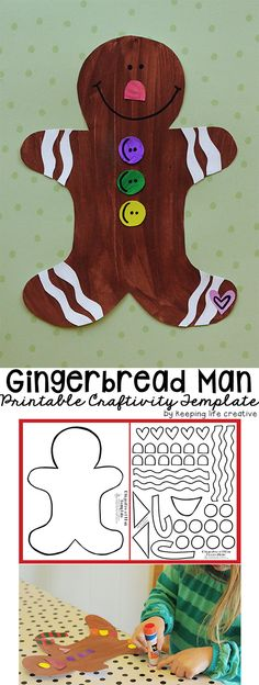 Gingerbread Man Craft makes a fun (and sugar-free!) Christmas project for kids. Full tutorial with a printable template.