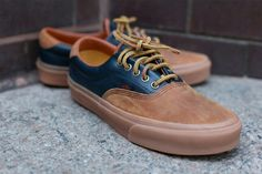 vans brown with blue leather detail