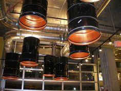 Repurposed Barrel Light Fixtures at Taylor Gourmet