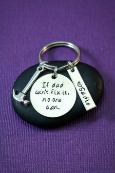 Gift for Dad - Dad Keychain - Dads Birthday - Gift from Daughter - If Dad Can't Fix It No One Can - Hammer- Mechanic-Fathers Day Gift