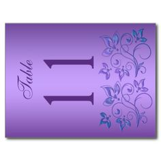 Reversible Purple and Blue Floral Table Number Postcards