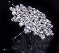 6.5x6.5cm Slivery Shining Fancy Flower Jewelry Beauty Crystal Rhinestone Pin Brooch
