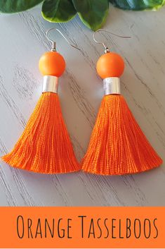 Can't put your finger on the little something to top off your outfit? These pair of orange silk tassel hook earrings will definitely compliment your beautiful dress for parties, date nights and evening occasions. Tassel Earrings, Statement Earrings, Drop Earrings, Orange Earrings, Stainless Steel Earrings, Beaded Jewelry, Jewellery, Earrings Handmade, Orange Color