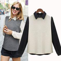 European Fashion Long Sleeve Lapel Chiffon Shirt