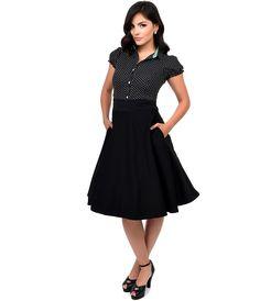 Vintage Style Black High Waist Vivien Swing Skirt