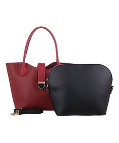 Burgundy Strap-Accent Convertible Tote