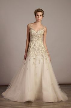 Style 5886 - Liancarlo. Italian embroidery on illusion tulle sleeveless ball gown with illusion neckline in Candlelight.