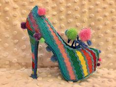 Rainbow - 2017 glitter shoe - Krewe of Muses - Mardi Gras - ready to ride!