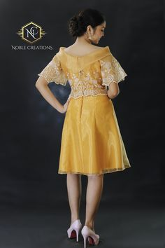 Filipiniana Golden Silk Dress. Modern Filipiniana Dress, Filipiniana Wedding, Philippines Dress, Barong Tagalog, Filipino Fashion, Formal Dresses For Men, Dress Brokat, Silk Organza, Embroidered Silk