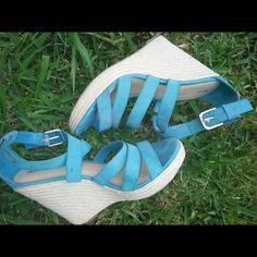 Turquoise Strap Wedges These are GORGEOUS turquoise wedges great for the summer....These are a  Reposh they are kinda big in the back on my feet. My feet are narrow and these feel like a (11Wide). Shoes