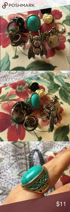 Vintage Rings Bundle 8 Pieces in total. All incredible non staining quality. Turquoise, stainless steel, bohemian, vintage bundle. The steam punk cameo one is adjustable. Jewelry Rings