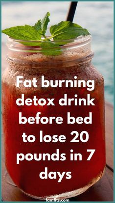 Detox Drink Before Bed, Drinks Before Bed, Weight Loss Smoothie Recipes, Weight Loss Drinks, Fat Burning Detox Drinks, Fat Burning Foods, Superfood, Fat Flush Detox, Fat Flush Water