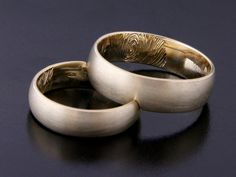 Rings by Bielak  Poland  yellow gold wedding rings with fingerprint