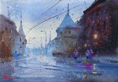 Watercolor Landscape, Watercolour Painting, Rain Clouds, Contemporary Paintings, Sell On Etsy, Original Artwork, Wall Art, The Originals, City