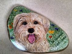 Hand Painted Rocks Dog Pet Portrait Yorkshire Yorkie by CobbledArt, $60.00