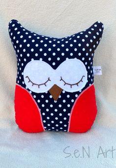 Handmade Sleeping Owl Pillow, Owl Soft Toy , Polka Dot Owl Plush, Sleepy Owl Softie, Fabric Owl Pillow, Navy Blue Red Polka Dot Owl Pillow by SenArt1 on Etsy https://www.etsy.com/listing/228026011/handmade-sleeping-owl-pillow-owl-soft