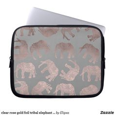 clear rose gold foil tribal elephant pattern laptop sleeve