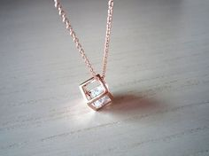rose gold necklace- rose gold Square simple gold necklace- sweet necklace-perfect gift for you or friends Cute Jewelry, Jewelry Accessories, Jewelry Necklaces, Rose Gold Necklaces, Small Necklace, Crystal Necklace, Gold Necklace Simple, Diamond Necklaces, Pendant Necklace