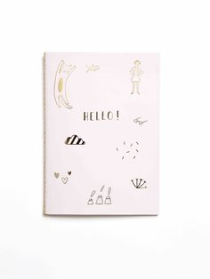 Hello pink and gold foil notebook