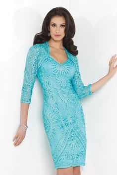 Social Occasion by Mon Cheri – 115858 – turquoise A beautifully embossed lace overlay dress with a bolero jacket in a vibrant turquoise and also in Silver. This fabulous outfit has a stylish vintage look and it oozes sophistication. The Read More...