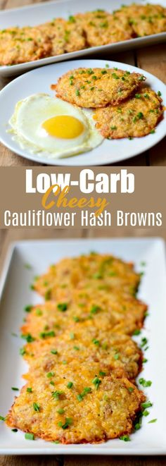 Low-Carb Cheesy Cauliflower Hash Browns - This low-carb cheesy cauliflower hash . Cheesy Cauliflower Hash Browns - This low-carb cheesy cauliflower hash . Cauliflower Hash Brown Recipe, Cheesy Cauliflower, Cauliflower Recipes, Riced Cauliflower, No Calorie Foods, Low Calorie Recipes, Diet Foods, Low Calorie Cheese, Healthy Eating Tips