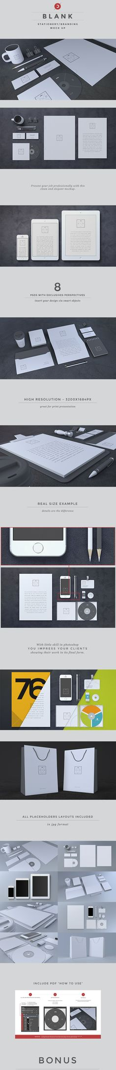 Blank Stationery Mock-Up by Dooca Premium Resources , via Behancen #identity #packaging #branding PD