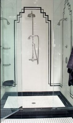 black tile detailing. I bet this is what Daddy Warbucks' shower looks like.