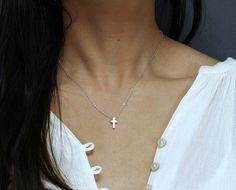 Minimal Cross Necklace - Sale! Up to 75% OFF! Shot at Stylizio for women's and men's designer handbags, luxury sunglasses, watches, jewelry, purses, wallets, clothes, underwear