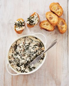 Spinach Dip - Our fresh take on spinach dip removes some limiting ingredients; no breadcrumbs here, and no butter. The reveal: a lighter-than-air spinach dip made with just two ingredients.