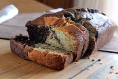 chocolate marbled banana bread- would be cool made into muffins