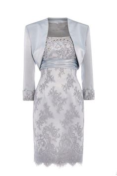guest outfit suit Silver Lace Mother Of The Bride Dress Women Formal Gown Free Jacket Knee Length Mother Of Bride Outfits, Mother Of Groom Dresses, Bride Groom Dress, Mothers Dresses, Mother Bride, Mother Of The Bride Dresses Knee Length, Mother Of The Bride Clothes, Brides Mom Dress, Mother Of The Bride Plus Size