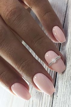 Wedding Nails Perfect wedding manicure inspiration for every bride Wedding Nail Polish, Wedding Manicure, Wedding Nails Design, Manicure And Pedicure, Neutral Wedding Nails, Simple Wedding Nails, Pink Wedding Nails, Bride Nails, Prom Nails