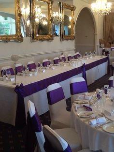Purple Satin at @Moorland Garden Hotel #purple #satin #wedding #plymouth #devon #hotel Plymouth, Purple Satin, Wedding Album, Devon, Wedding Reception, Table Decorations, Board, Home Decor, Marriage Reception