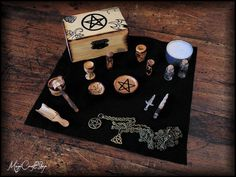 New mini altar set made with wood handmade and by magicraftshop