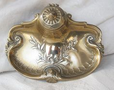 Art Nouveau/Edwardian Brass Ink Well/Inkwell/ Inkstand from greens on Ruby Lane