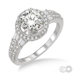 14 Karat White Gold Engagement Ring with a Round Cut Center Stone   Ashi Style: 14153FRWG-SM