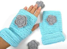 CIJ 30% Off Mittens Crochet AQUA BLUE, gray flower Gloves Fingerless mitts