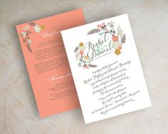 Boho chic floral wedding invitation, botanical flowers, botanical wedding invitations, garden wedding invites, country chic wedding invitations, peach, gray, baby blue and mustard yellow, Myriame www.appleberryink.com