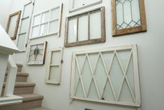 Best How To Hang Pictures On Wall Ideas Window Panes Ideas pane ideas hanging Best How To Hang Pictures On Wall Ideas Window Panes Ideas Vintage Window Decor, Window Pane Decor, Vintage Windows, Window Hanging, Old Windows, Window Wall, Decorating With Window Panes, Window Pane Headboard, Stairs Window