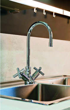The Infinity kitchen faucet adds a new dimension to the kitchen space