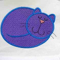 CRAZY CAT Applique and Embroidered Quilt Block by by amyglitterbug, $6.99