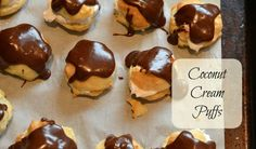 The style cream puff gets a vegan makeover in this dairy-free version that& just as good as the original. Vegan Cream Puffs Recipe, Recipes With Coconut Cream, Vegan Sweets, Vegan Desserts, Vegan Recipes, Vegan Meals, Vegetarian Food, Vegan Food, Lactose Free Cream