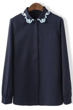 OASAP Blouses, Embroidered Button-up Chiffon Shirt, navy, L, OP37109