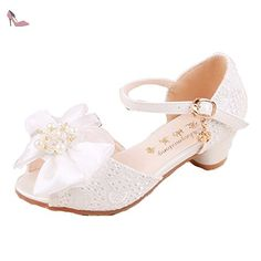 cdc257fa1b8e2 Ohmais Enfants Filles Chaussure cérémonie Ballerines à bride Fête  Demoiselle d honneur Mariage Escarpin à