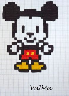 Les Créas de ValMa Pixel Art Photo, Image Pixel Art, Photo Art, Pixel Art Mickey, Pixel Art Anime, Pixel Art Minecraft, Modele Pixel, Graph Paper Drawings, Pixel Art Grid