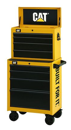 "Amazon.com Cat 9-Drawer Ball-Bearing Tool Chest and Cabinet Combination, 26"" W - Designed, Engineered and Assembled in the USA     #tools #cabinet #chest #toolbox #diy #cat #drawer #cart #metal #build #home #shopping #Maintenance #steel #yellow #black #garage"